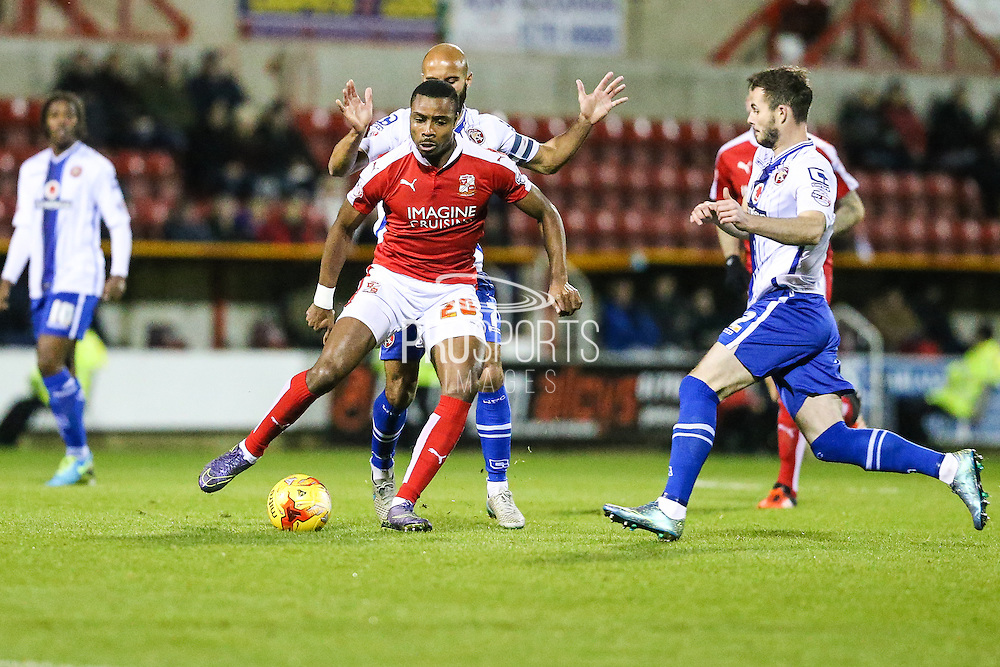 Swindon Towns goal scorer Swindon Town's Jonathan Obika during the Sky Bet League 1 match between Swindon Town and Walsall at the County Ground, Swindon, England on 24 November 2015. Photo by Shane Healey.