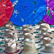 Tourist market selling straw hats and umbrellas as Chichen Itza, Mexico