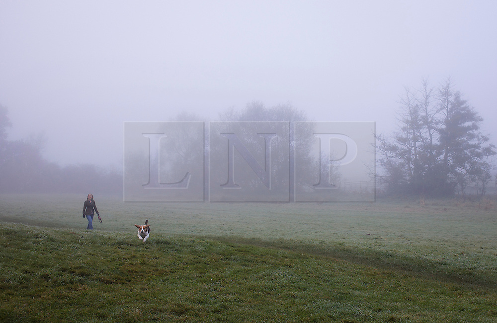 © Licensed to London News Pictures. 21/10/2012. KENILWORTH, UK. A dog walker is seen in mist as they take a morning autumn walk at Kenilworth Castle in Warwickshire today. Photo credit: Alison Baskerville/LNP