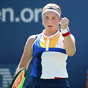 2017 U.S. Open Tennis Tournament - DAY FOUR.  Jelena Ostapenko of Latvia in action against Sorana Cirstea of Romania during the Women's Singles round two match at the US Open Tennis Tournament at the USTA Billie Jean King National Tennis Center on August 31, 2017 in Flushing, Queens, New York City.  (Photo by Tim Clayton/Corbis via Getty Images)