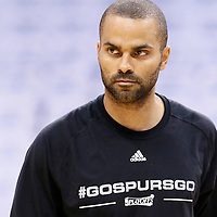 08 May 2016:  San Antonio Spurs guard Tony Parker (9) warms up prior to the Oklahoma City Thunder 111-97 victory over the San Antonio Spurs, during Game Four of the Western Conference Semifinals of the NBA Playoffs at the Chesapeake Energy Arena, Oklahoma City, Oklahoma, USA.