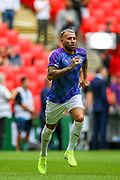 Manchester City defender Nicolas Otamendi (30) warms up during the FA Community Shield match between Manchester City and Liverpool at Wembley Stadium, London, England on 4 August 2019.