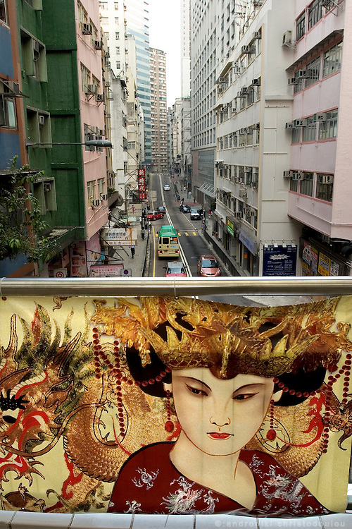 Theater advertisment at an overstreet passage in central Hong Kong