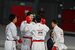 November 11, 2018 - Madrid, Madrid, Spain - Japan Team win the bronce medal and the third place of Female Kata Team during the Finals of Karate World Championship celebrates in Wizink Center, Madrid, Spain, on November 11th, 2018. (Credit Image: © AFP7 via ZUMA Wire)
