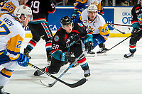 KELOWNA, CANADA - DECEMBER 1: Leif Mattson #28 of the Kelowna Rockets skates against the Saskatoon Blades  on December 1, 2018 at Prospera Place in Kelowna, British Columbia, Canada.  (Photo by Marissa Baecker/Shoot the Breeze)