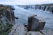 The Selfoss waterfall is above the better known Dettifoss waterfall.