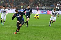 """Gol di Diego Milito Inter<br /> Goal celebration<br /> Milano 31/10/2012 Stadio """"S.Siro""""<br /> Football Calcio Serie A 2012/13<br /> Inter v Sampdoria<br /> Foto Insidefoto Paolo Nucci"""