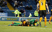 Carl Ikeme and Richard Stearman blocked a shot during the Sky Bet Championship match between Sheffield Wednesday and Wolverhampton Wanderers at Hillsborough, Sheffield, England on 13 December 2014. Photo by Richard Greenfield.