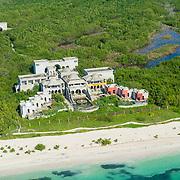 Residential construction by the beach. Playa Maroma. Riviera Maya, Mexico.