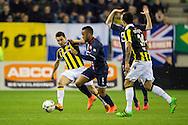 27-02-2016 VOETBAL:VITESSE - WILLEM II:ARNHEM<br /> Funso Ojo van Willem II in duel Denys Oliinyk van Vitesse <br /> <br /> Foto: Geert van Erven