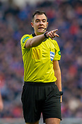 Referee Don Robertson during the Ladbrokes Scottish Premiership match between Rangers FC and Heart of Midlothian FC at Ibrox Park, Glasgow, Scotland on 1 December 2019.