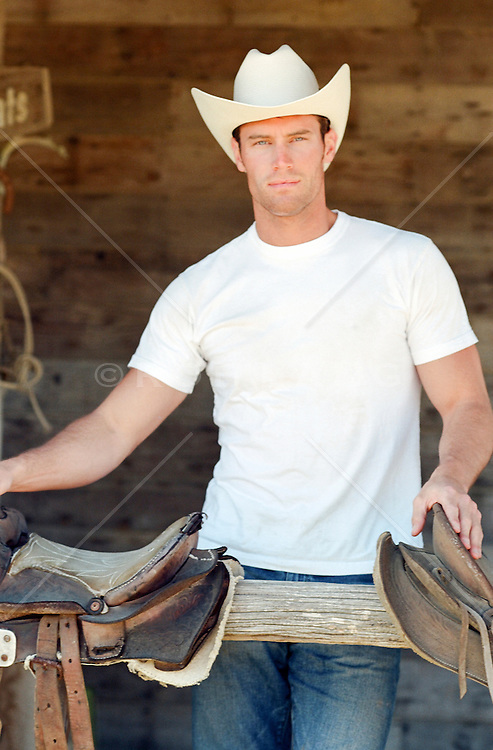 handsome cowboy looking at camera