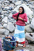 women do the washing in the Ourika Valleyand river  Morocco