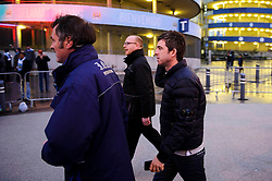 Musician and Man City fan Noel Gallagher arrives at the stadium before the game - Photo mandatory by-line: Rogan Thomson/JMP - Tel: 07966 386802 - 18/02/2014 - SPORT - FOOTBALL - Etihad Stadium, Manchester - Manchester City v Barcelona - UEFA Champions League, Round of 16, First leg.