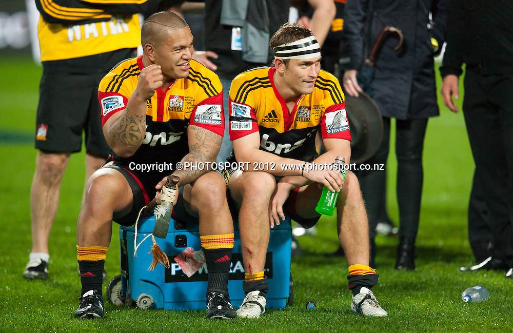 Chiefs players Hika Elliot and Andrew Horrell reflect on their success after the Investec Super Rugby final between Chiefs and Sharks won by Chiefs 37-6 at Waikato Stadium, Hamilton, New Zealand, Saturday 4 August 2012. Photo: Stephen Barker/Photosport.co.nz