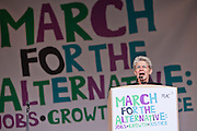 Bernadette Segol General Secretary of the European Trade Union Confederation (ETUC) speaking at the TUC March for the Alternative 26 March 2011, Hyde Park London.