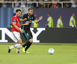 August 8, 2017 - Skopje, Macedonia - Real Madrid Forward Karim Benzema trying to control the ball during the UEFA Super Cup Final match between Real Madrid and Manchester United at the Philip II Arena, Skopje, Macedonia on 8 August 2017. (Credit Image: © Ahmad Mora/NurPhoto via ZUMA Press)