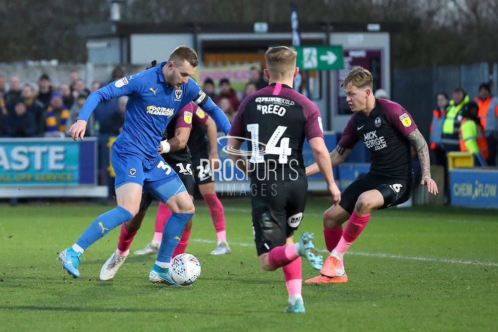 AFC Wimbledon striker Joe Pigott (39) dribbling in the box and about to score goal during the EFL Sky Bet League 1 match between AFC Wimbledon and Peterborough United at the Cherry Red Records Stadium, Kingston, England on 18 January 2020.