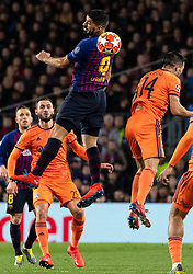 BARCELONA, March 14, 2019  Barcelona's Luis Suarez (top) competes during the UEFA Champions League match between Spanish team FC Barcelona and French team Lyon in Barcelona, Spain, on March 13, 2019. Barcelona won 5-1 and advanced to the quarterfinals. (Credit Image: © Joan Gosa/Xinhua via ZUMA Wire)