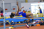 Hampton's Shaquanda Gainey during the high jump of the Women's Pentathlon during the 2013 MEAC Men's and Women's Indoor Track and Field Championships at the Prince George's Sports and Learning Complex in Landover, Maryland.  February 15, 2013  (Photo by Mark W. Sutton)