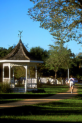 Stock photo of a gazebo in the park beside the walking trail