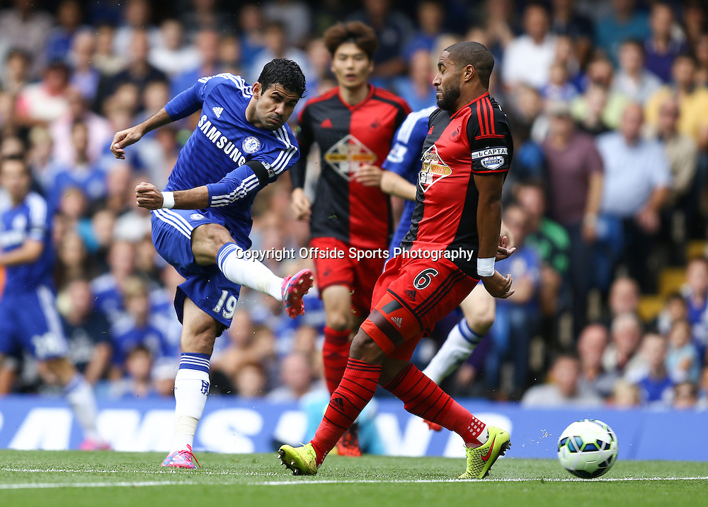13 September 2014 - Barclays Premier League - Chelsea v Swansea City - Diego Costa of Chelsea with an early shot - Photo: Marc Atkins / Offside.