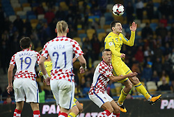 October 9, 2017 - Kiev, Ukraine - Ukraine's Taras Stepanenko, right, and Croatia's Ivan Perisic, left, in the fight for the ball during the World Cup Group I qualifying soccer match between Ukraine and Croatia at the Olympic Stadium in Kiev. Ukraine, Monday, October 9, 2017  (Credit Image: © Danil Shamkin/NurPhoto via ZUMA Press)