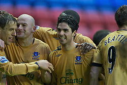 Wigan, England - Sunday, January 21, 2007: Everton's Mikel Arteta celebrates scoring the second goal against Wigan Athletic, with his team-mates, during the Premier League match at the JJB Stadium. (Pic by David Rawcliffe/Propaganda)
