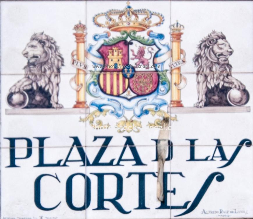 Plaza de las Cortes (Cuts). Ceramic street sign in Madrid, Spain