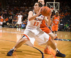 Virginia guard Sammy Zeglinski (13) in action against Clemson.  The Virginia Cavaliers defeated the #12 ranked Clemson Tigers in overtime 85-81 at the John Paul Jones Arena on the Grounds of the University of Virginia in Charlottesville, VA on February 15, 2009.