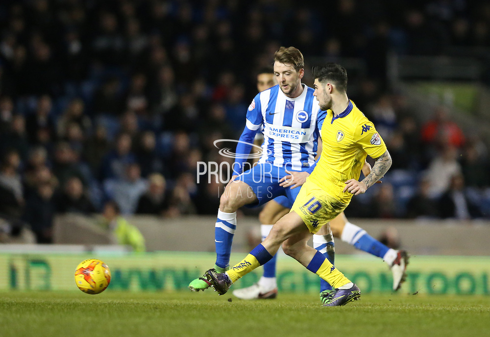 Leeds United midfielder, Alex Mowatt (10) and Brighton central midfielder, Dale Stephens (6) during the Sky Bet Championship match between Brighton and Hove Albion and Leeds United at the American Express Community Stadium, Brighton and Hove, England on 29 February 2016.