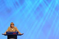 11 NOV 2002, HANNOVER/GERMANY:<br /> Angela Merkel, CDU Bundesvorsitzende, waehrend ihrer Rede, CDU Bundesparteitag, Hannover Messe<br /> IMAGE: 20021111-01-062<br /> KEYWORDS: Parteitag, party congress, speech,