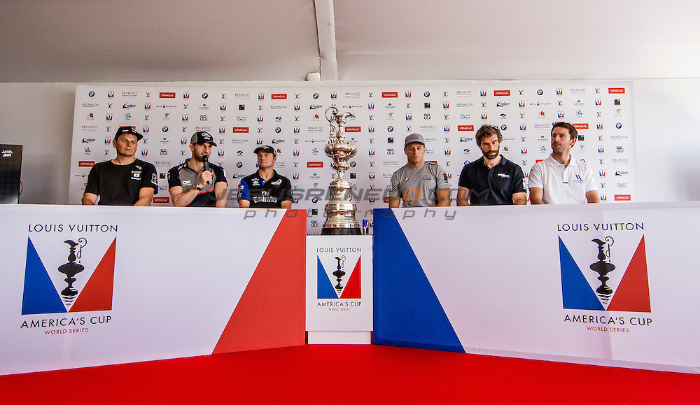 America's Cup arrives in Muscat.Official opening press  conference.Louis Vuitton America's Cup World Series Oman 2016. Muscat ,The Sultanate of Oman.Image licensed to Jesus Renedo/Lloyd images/Oman Sail