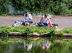 Men Fishing in Forth Canal During Lockdown, Edinburgh 20 May 2020