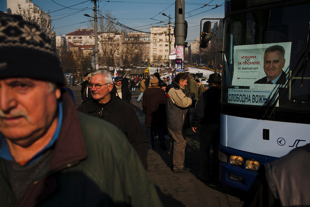 Tomislav Nikolic and the Serbian Progressive Party (SNS) stage an opposition rally in Belgrade on February 5, 2011. Pionirski Park in front of Parliament and the streets of central Belgrade. People return to chartered busses on Slavija Square following the rally.