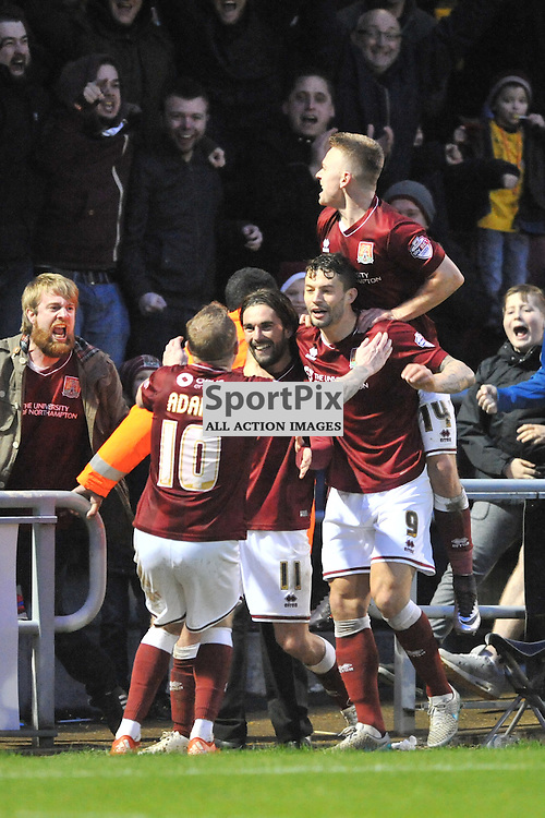 Northampton Celebrate Their Second Goal by Ricky Holmes, Northampton Town v MK Dons, FA Cup 3rd Round,  Sixfiels Stadium, Saturday 9th January 2016