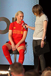 LIVERPOOL, ENGLAND - Monday, May 9, 2016: Liverpool's Gemma Bonner is interviewed by Claire Rourke at the launch of the New Balance 2016/17 Liverpool FC kit at a live event in front of supporters at the Royal Liver Building on Liverpool's historic World Heritage waterfront. (Pic by Lexie Lin/Propaganda)