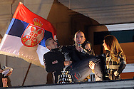 TENIS, BEOGRAD, 06. Dec. 2010. - Viktor Troicki i Novak Djokovic. Vise hiljada gradjana se okupilo veceras ispred Starog dvora kako bi pozdravili tenisere Srbije i strucni stab - povodom osvajanja Dejvis kupa. Foto: Nenad Negovanovic