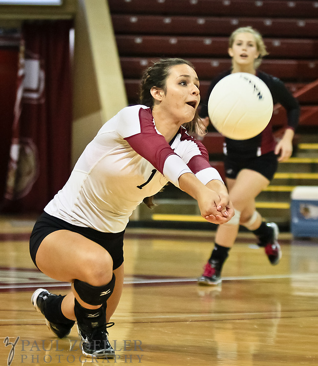 Porter-Guad's Marla Sagatelian goes for the ball during the SCISA volleyball championship Monday, Oct. 22, 2012 in Charleston at the College of Charleston TD Arena. Paul Zoeller/Special to the Post and Courier
