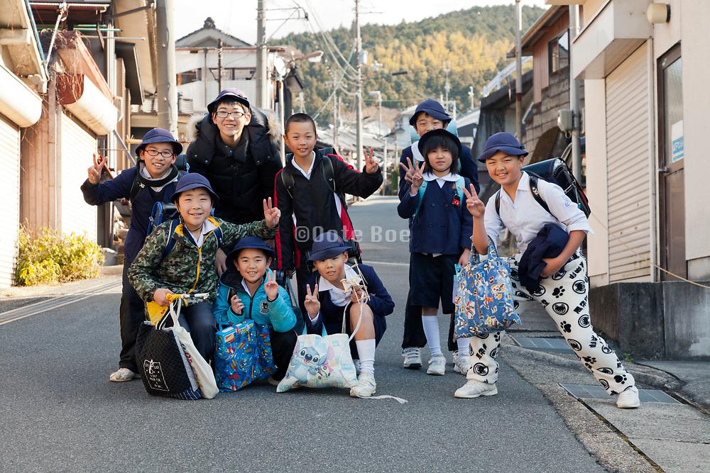 group of schoolchildren casual posing Sakurai city near Nara Japan