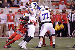 30 September 2017:   Davontae Harris wraps up Cade Sparks behind the line of scrimmage during the Indiana State Sycamores at Illinois State Redbirds Football game at Hancock Stadium in Normal IL (Photo by Alan Look)