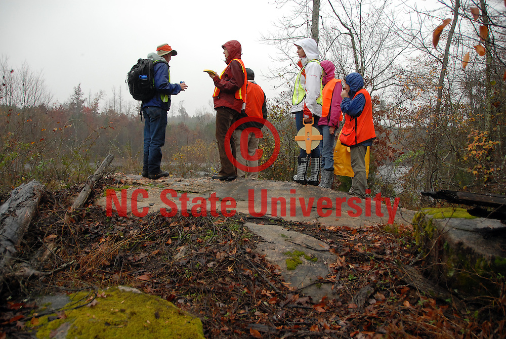 CNR researchers and students survey land for a potential park in eastern Wake County. PHOTO BY ROGER WINSTEAD