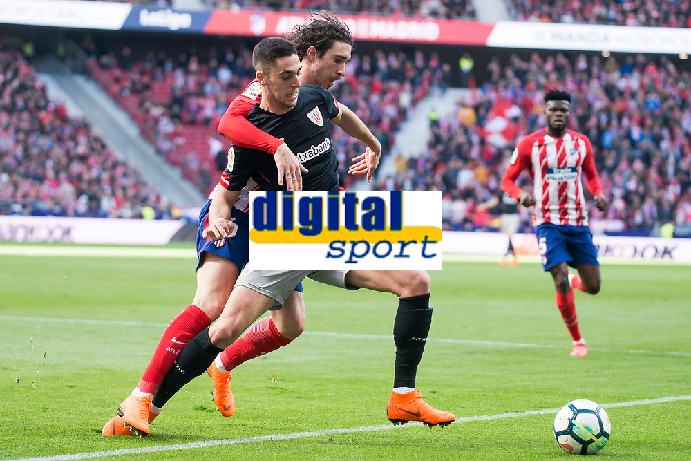 Atletico de Madrid Sime Vrsaljko and Athletic Club Sabin Merino during La Liga match between Atletico de Madrid and Athletic Club and Wanda Metropolitano in Madrid , Spain. February 18, 2018. (ALTERPHOTOS/Borja B.Hojas)