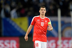 29.03.2016, Letzigrund Stadion, Zuerich, SUI, Testspiel, Schweiz vs Bosnien Herzegovina, im Bild Granit Xhaka (SUI) // during the International Friendly Football Match between switzerland and Bosnia and Herzegovina at the Letzigrund Stadion in Zuerich, Switzerland on 2016/03/29. EXPA Pictures © 2016, PhotoCredit: EXPA/ Freshfocus/ Andy Mueller<br /> <br /> *****ATTENTION - for AUT, SLO, CRO, SRB, BIH, MAZ only*****