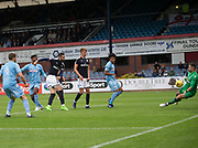 Bolton Wanderers' Mark Howard saves from Dundee's Marcus Haber - Dundee v Bolton Wanderers pre-season friendly at Dens Park, Dundee, Photo: David Young<br /> <br />  - © David Young - www.davidyoungphoto.co.uk - email: davidyoungphoto@gmail.com