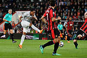 Anthony Martial (11) of Manchester United shoots at goal and has it blocked by Lewis Cook (16) of AFC Bournemouth during the Premier League match between Bournemouth and Manchester United at the Vitality Stadium, Bournemouth, England on 18 April 2018. Picture by Graham Hunt.
