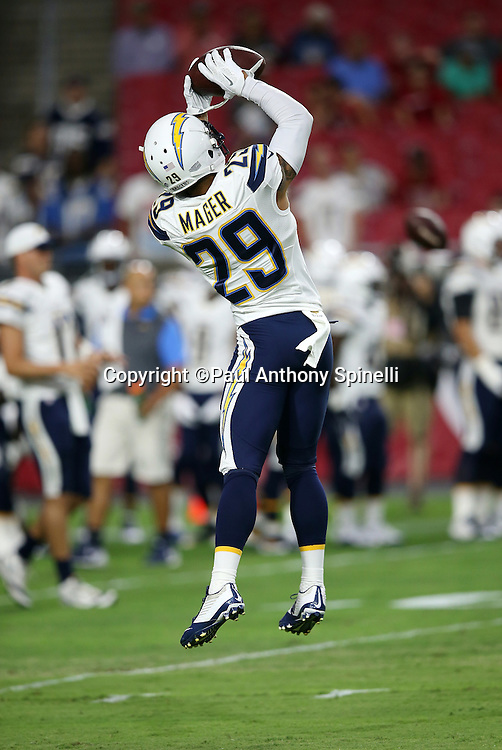 San Diego Chargers cornerback Craig Mager (29) leaps and catches a pass while warming up before the 2015 NFL preseason football game against the Arizona Cardinals on Saturday, Aug. 22, 2015 in Glendale, Ariz. The Chargers won the game 22-19. (©Paul Anthony Spinelli)