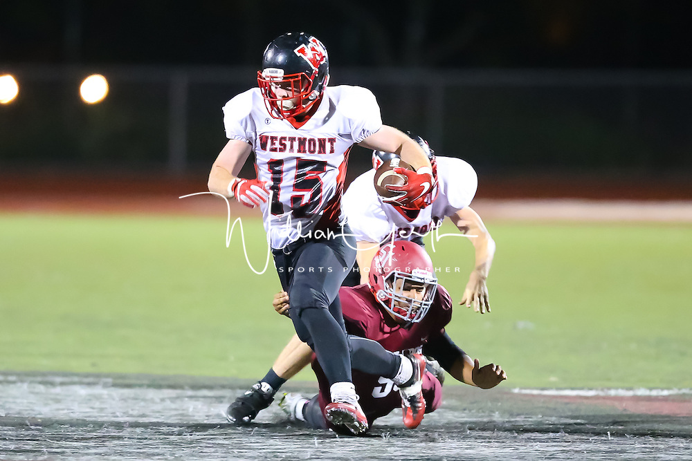(Photograph by Bill Gerth for SVCN) Westmont  #15 Nolan Berry runs for yardage vs San Jose in a BVAL Football Game at San Jose High School, San Jose CA on 10/7/16.  (Westmont 28 San Jose 20)