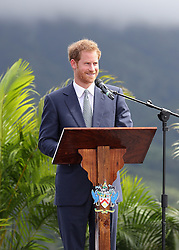 Prince Harry makes a speech during a youth rally at Brimstone Hill Fortress where he watched a number of cultural performances all led by the young people after arriving on the island of St Kitts for the second leg of his Caribbean tour.