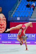 Vitanova Christianna during the qualifying at the ball in Pesaro World Cup 2018. Christianna is a gymnast from Great Britain of Bulgarian origins, she was born in Sofia in 2001.